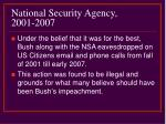 national security agency 2001 2007