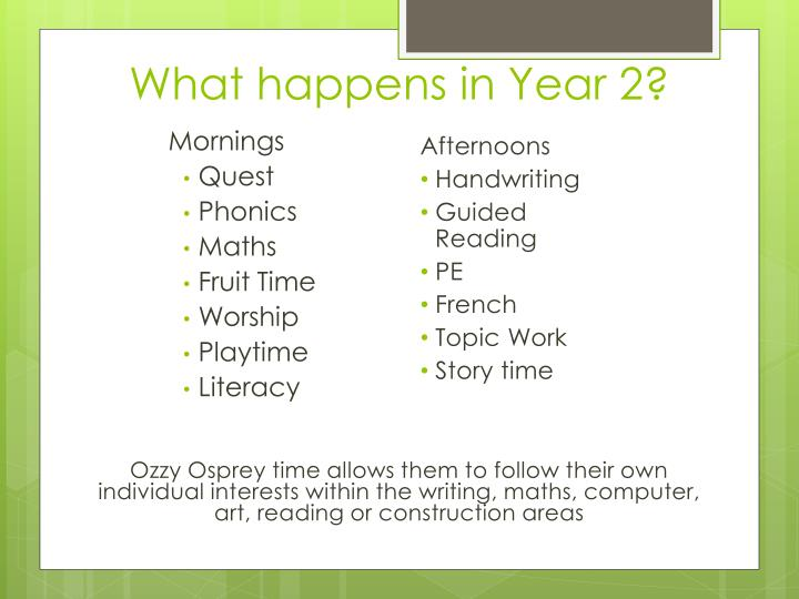 What happens in Year 2?