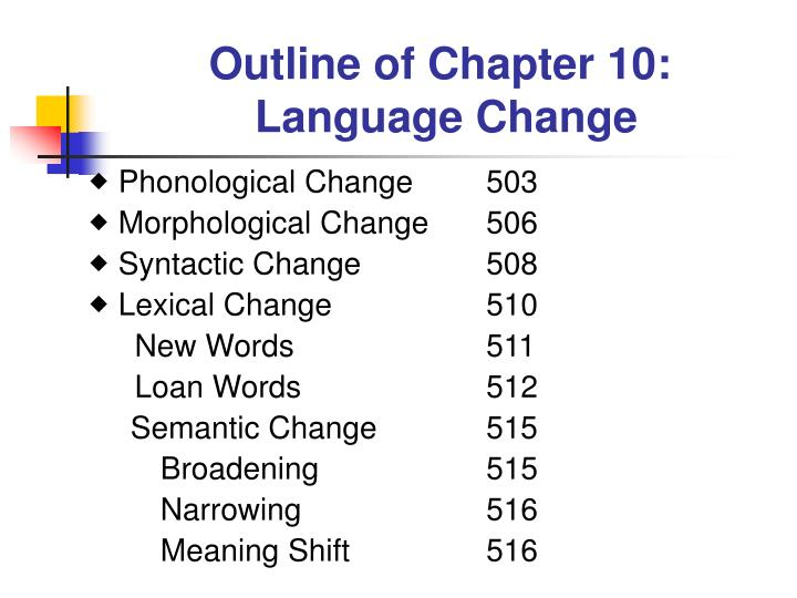 outline of chapter 10 language change n.