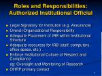 roles and responsibilities authorized institutional official