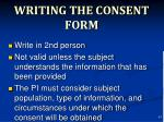 writing the consent form