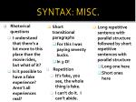 syntax misc