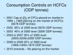 consumption controls on hcfcs odp tonnes
