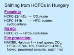 shifting from hcfcs in hungary