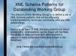 xml schema patterns for databinding working group