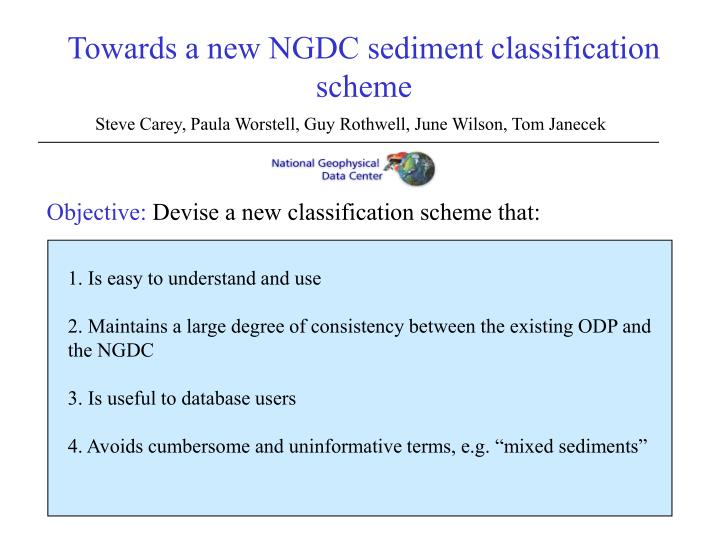towards a new ngdc sediment classification scheme n.
