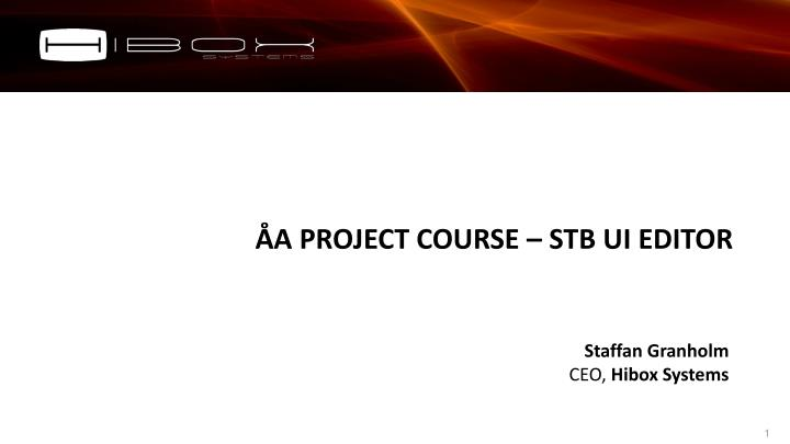 a project course stb ui editor n.