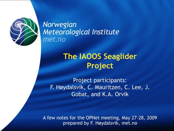 the iaoos seaglider project n.