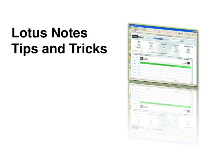 lotus notes tips and tricks n.