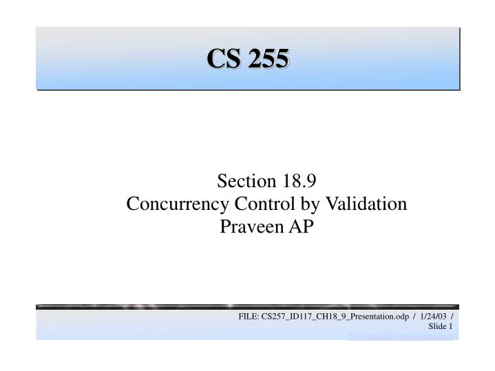 section 18 9 concurrency control by validation praveen ap n.