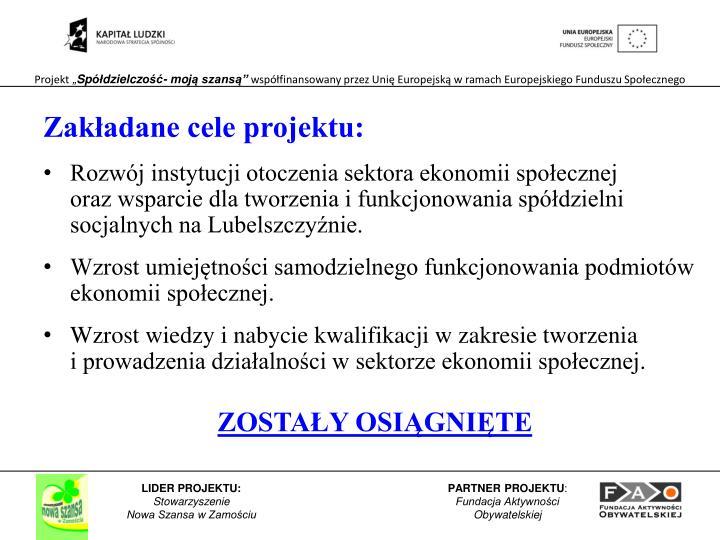 Zakładane cele projektu: