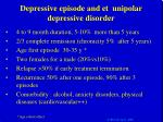 depressive episode and et unipolar depressive disorder