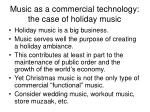 music as a commercial technology the case of holiday music