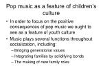pop music as a feature of children s culture
