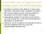 lessons 2 3 move in stages but avoid creating systems with built in inequalities