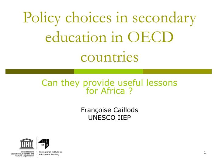 policy choices in secondary education in oecd countries n.