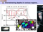 overwintering depths in various regions