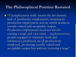 the philosophical position restated1