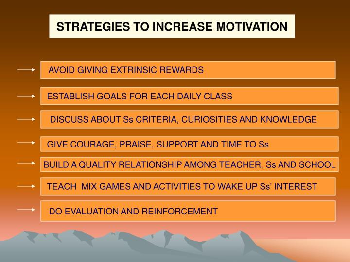 STRATEGIES TO INCREASE MOTIVATION