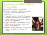 summary and conclusions completers