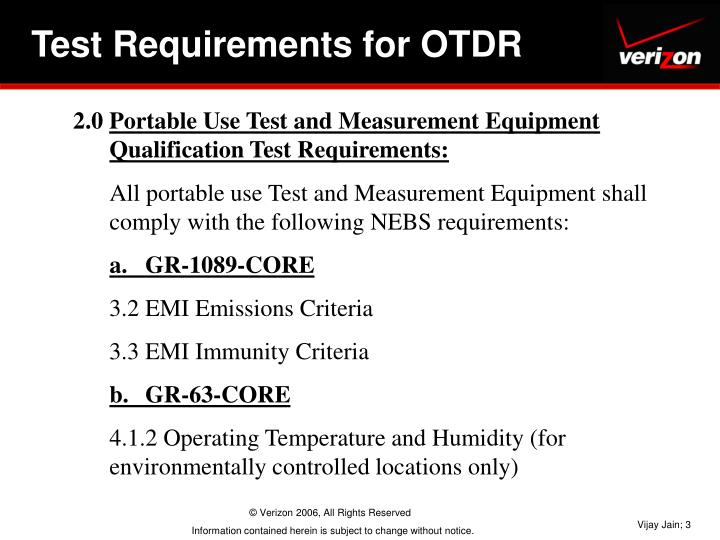 Test Requirements for OTDR