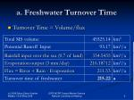 a freshwater turnover time