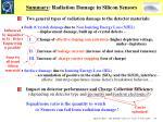 summary radiation damage in silicon sensors