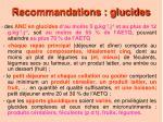 recommandations glucides