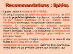 recommandations lipides
