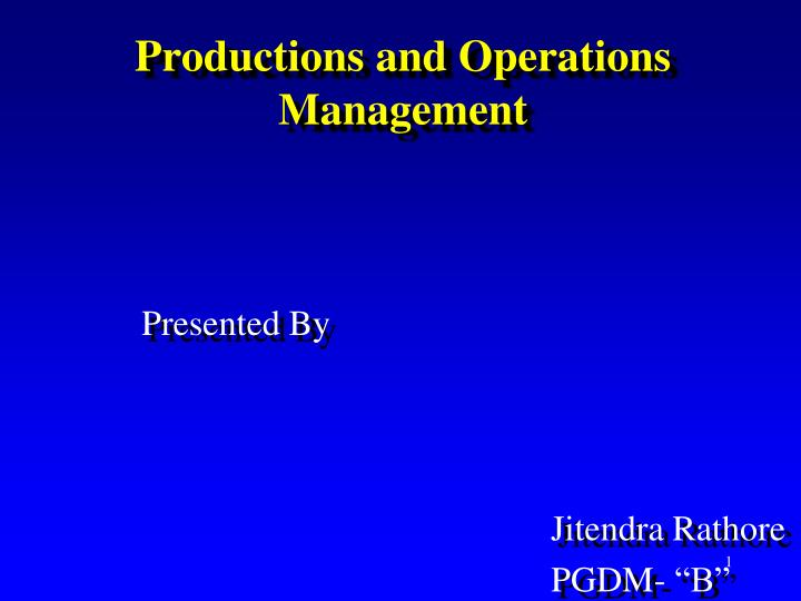 productions and operations management n.
