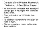 context of the present research valuation of gold mine project