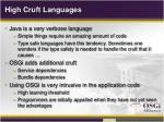 high cruft languages