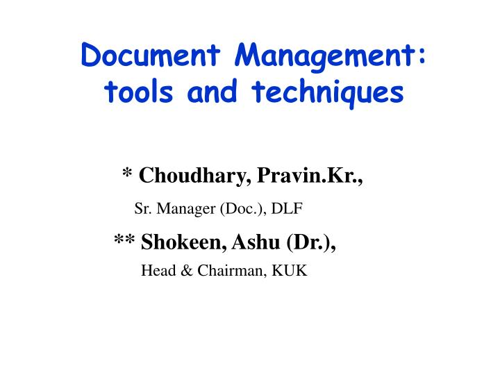 document management tools and techniques n.