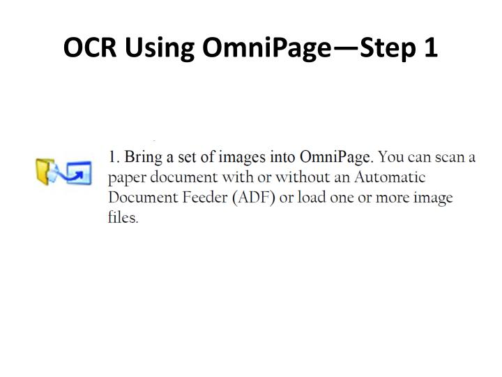 OCR Using OmniPage—Step 1