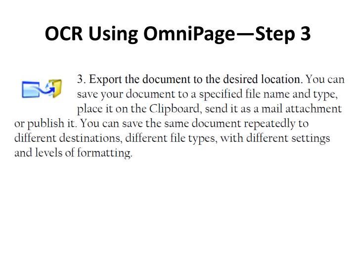 OCR Using OmniPage—Step 3