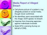 media report of alleged breach