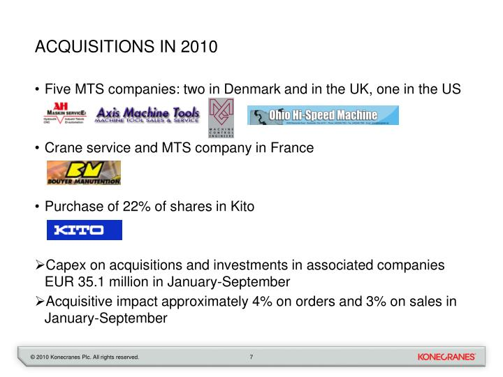 Acquisitions in 2010