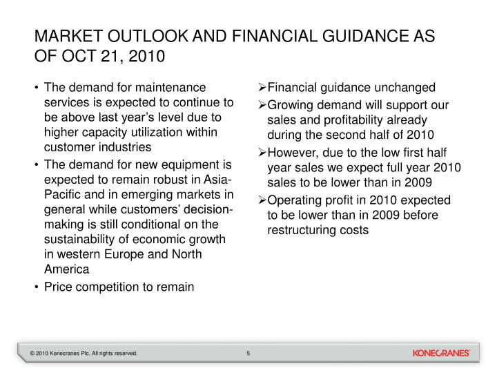Market outlook and financial guidance as of Oct 21, 2010