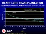 heart lung transplantation kaplan meier survival for all ages transplants january 1982 june 2009