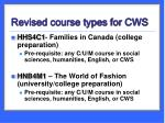 revised course types for cws