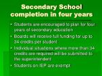 secondary school completion in four years
