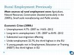 rural employment previously