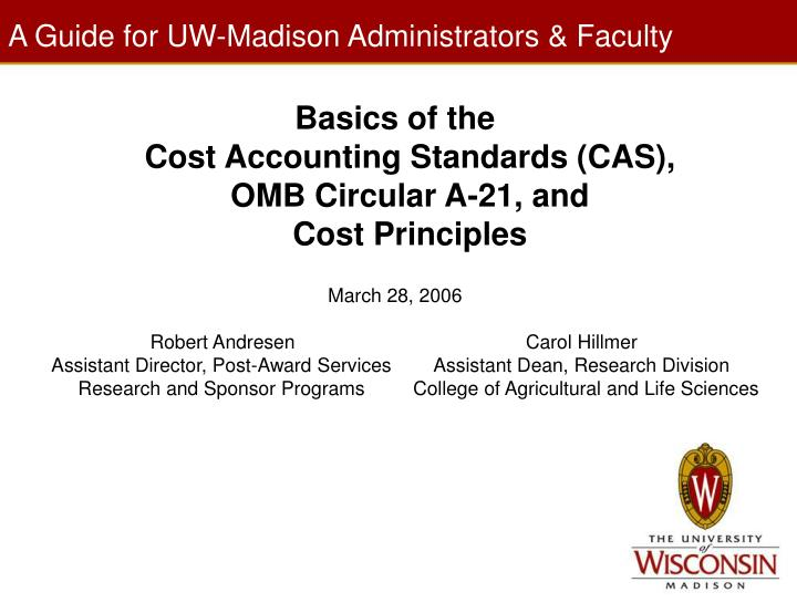 a guide for uw madison administrators faculty n.