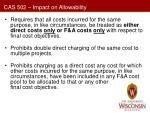 cas 502 impact on allowability