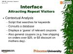 interface attracting repeat visitors