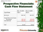 prospective financials cash flow statement