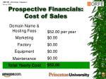 prospective financials cost of sales