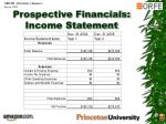 prospective financials income statement