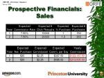 prospective financials sales