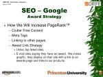 seo google award strategy
